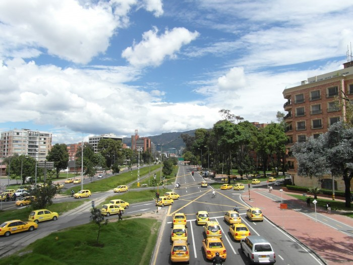 Taxis line up on one of Bogota's busiest roads