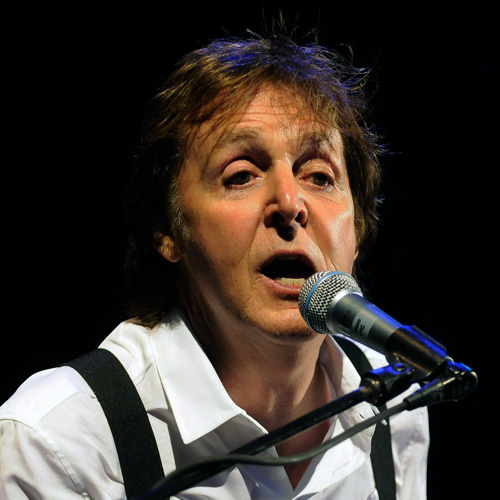 Paul McCartney singing at a recent concert