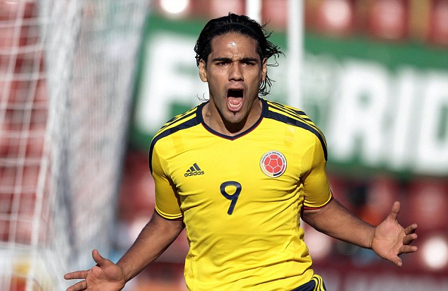 Falcao celebrates yet another goal, this time for Colombia