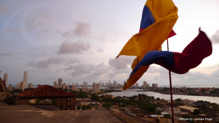 Colombian flags flying in Cartagena