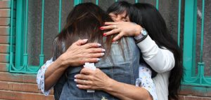 Together at last - Nicole and her mother embrace for the first time in 35 years