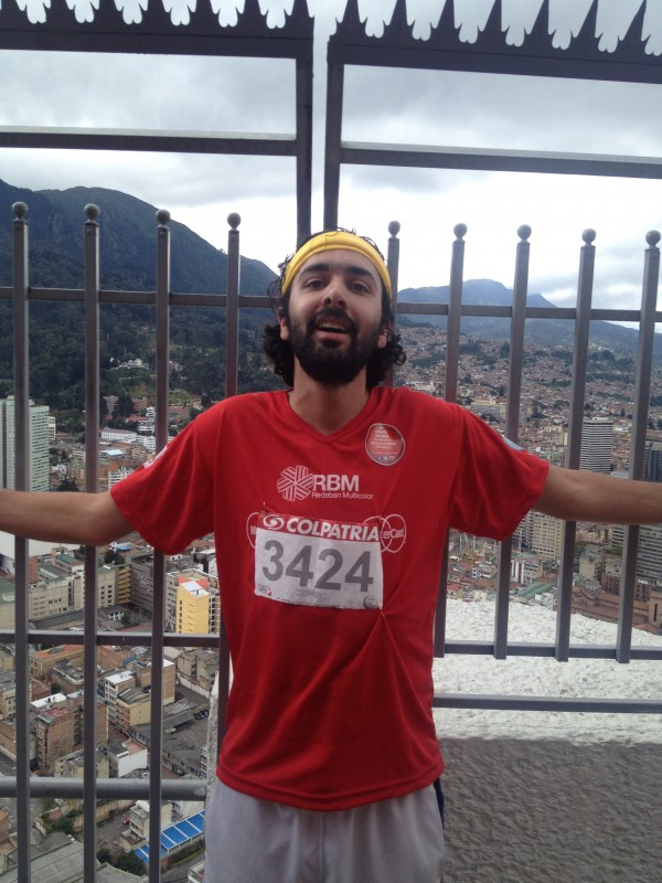 After running the Colpatria Tower in Bogota, Colombia