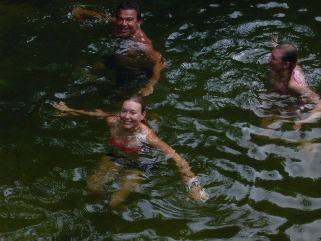 Sarah taking a dip during the hike to La Ciudad Perdida - pre mosquito alergic reaction