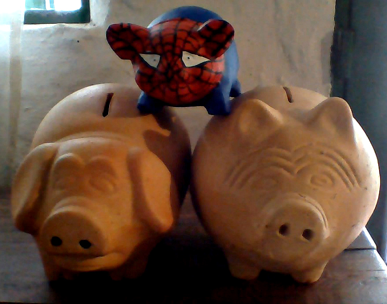 Traditional pottery piggy banks in Raquira