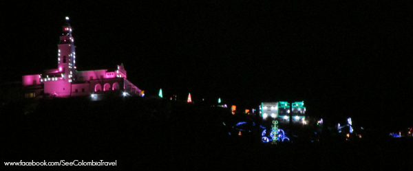 View of Monserrate's Christmas lights from Carrera Septima, Bogota