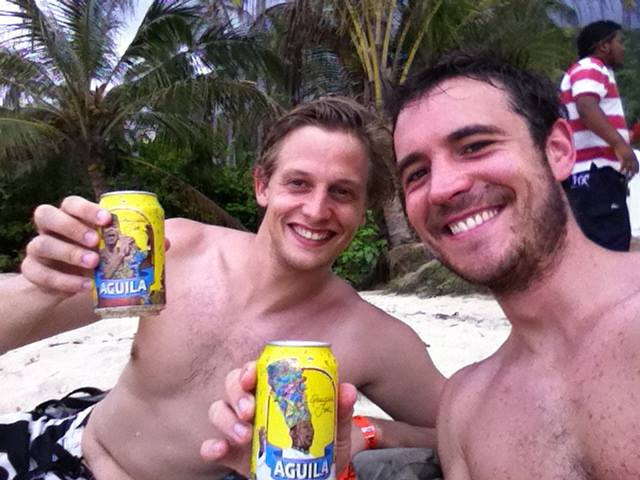 Two French entrepreneurs who set up the Tayrona yoga brand relax on the beaches on Tayrona