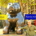 JL in Medellin with a Botero statue