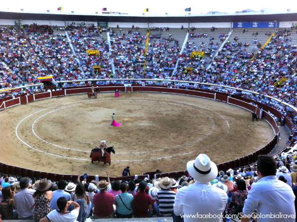 A bullfight at the plaza de toros in Cali, Feria de Cali 2013