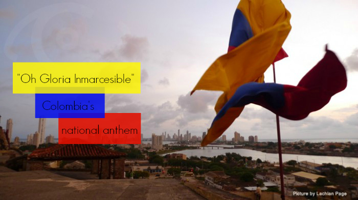 Colombia's national anthem with flag
