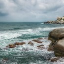 Another view of Parque Tayrona in Colombia. The person on the rocks in my son.