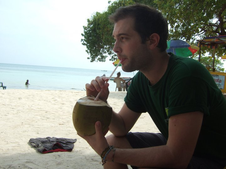 Paul gets thirsty on the beach