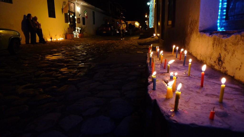 Candles adorn the streets of Villa de Leyva