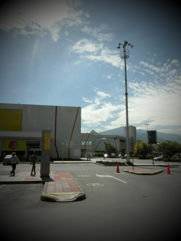 The carpark at Unicentro, one of Bogota's busiest and oldest malls
