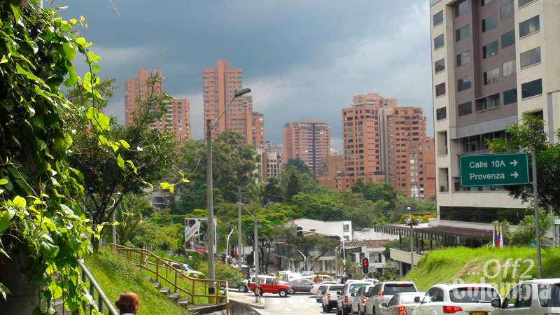Traffic in the leafy streets of Medellin