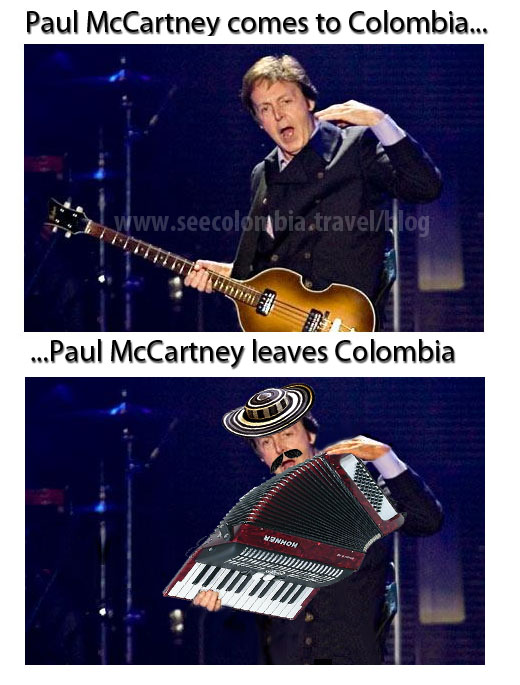 Paul McCartney, before and after Colombia...