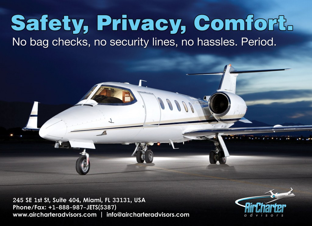 Safety, Privacy, Comfort, staples of the Air Charter Advisors business