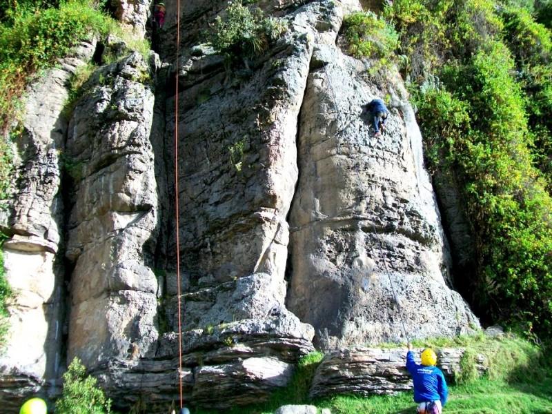 Climbing up Suesca's cliff face