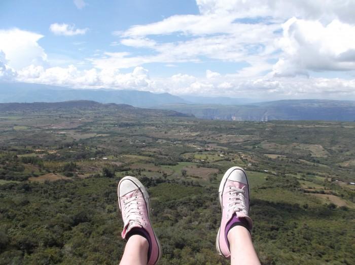 Laura flies through the air in San Gil