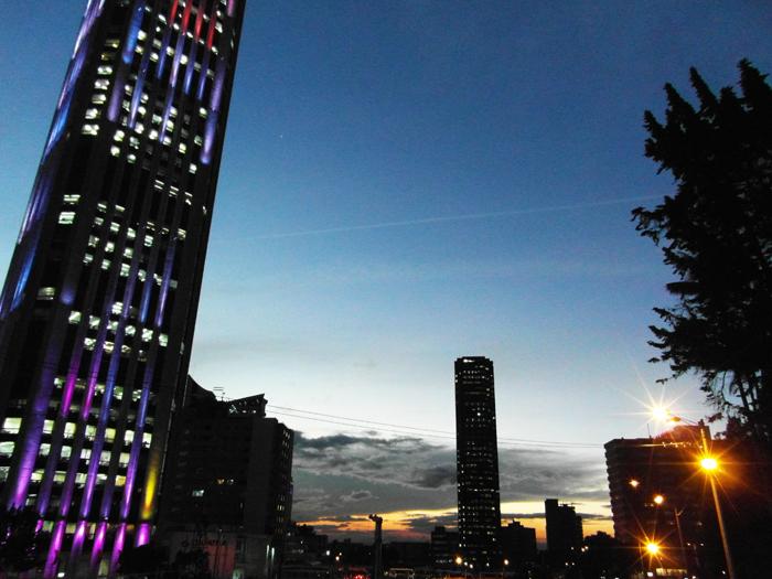Night falls over Bogotá