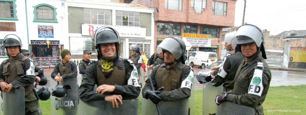 Riot police in Bogota, safety in Colombia