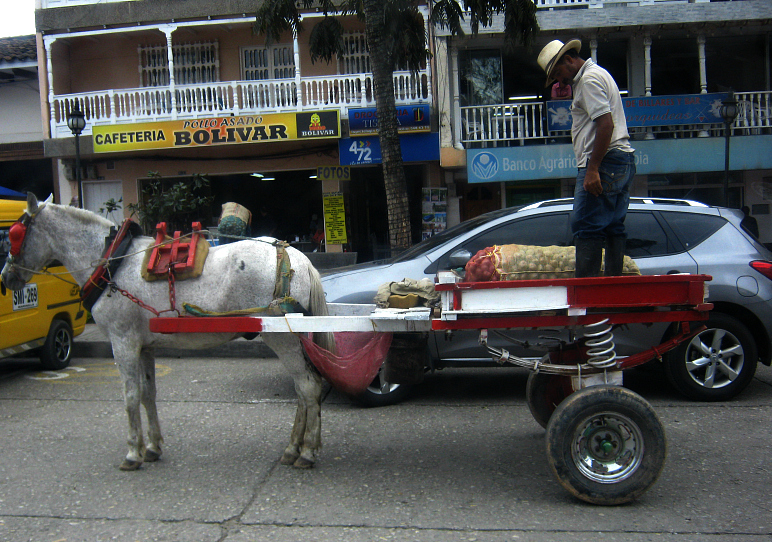 It doesn´t hurt if there`s also a guy with a hat on his horse's cart in front of an SUV, roast chicken shop and billiards hall.