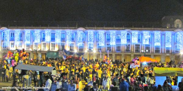 Christmas lights in Plaza Bolivar, Bogota