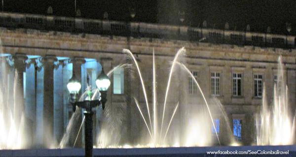 Christmas light show in Plaza Bolivar, Bogota