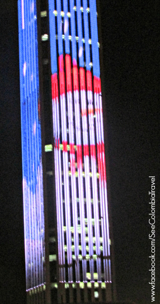 Christmas lights on the Torre Colpatria, Bogota