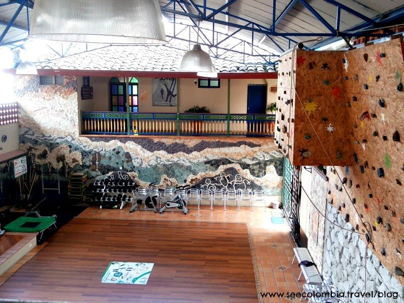 The hospital in Tamesis, Antioquia, not only includes a gym but there is also a climbing wall