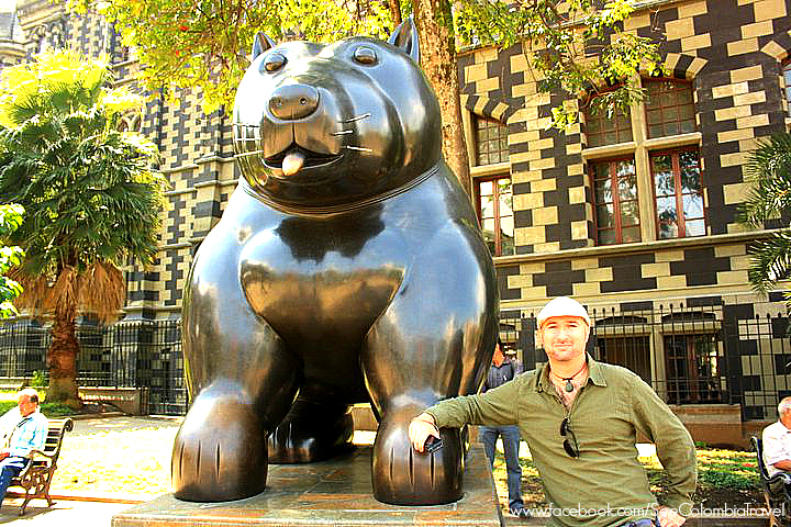 JL with a Botero statue in Medellin