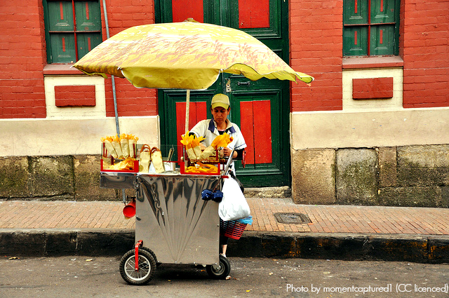 Street vendors in Colombia are everywhere, so you'll nver be far from your next snack