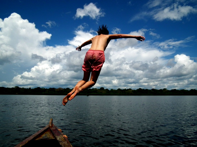 Swimming in Tarapoto Lake